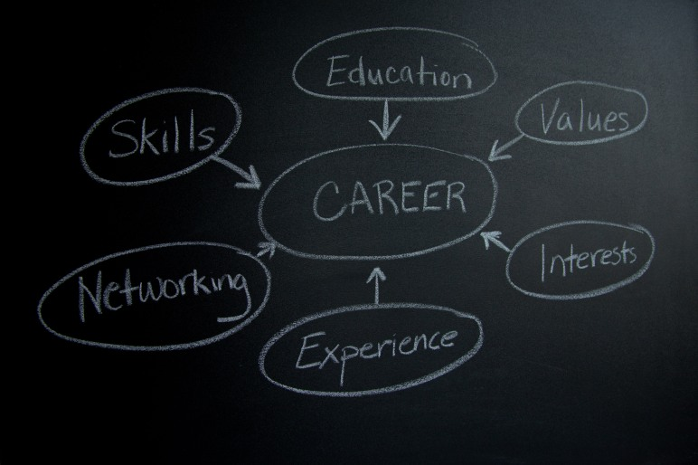 Chalk board diagram of career