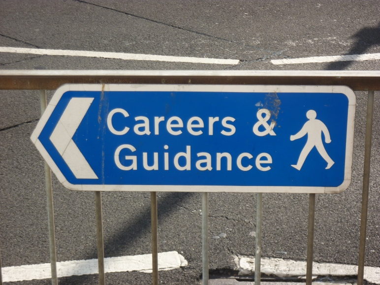 """career and guidancde"" street sign"